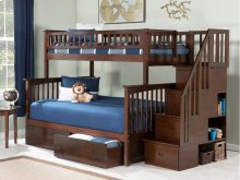 Columbia Staircase Bunk Bed Twin over Full with Urban Bed Drawers in Walnut