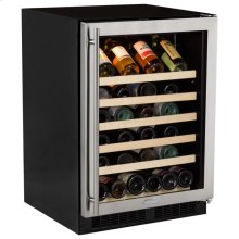 "24"" Single Zone Wine Cellar - Stainless Steel Frame Glass Door* - Left Hinge, Stainless Designer Handle"