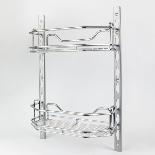 """Door Mount Tray System for Cabinet and Pantry Doors . Organizes Cans, Jars and Packets. Kit Includes 2 pcs of Track 18-1/8"""" Long and 2 Trays that are 11"""" x 5-15/16"""" x 3-7/16"""". Retail Packaged. Finish: Chrome"""