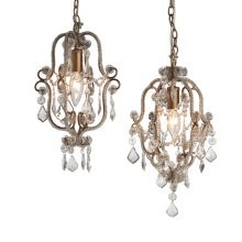 Antique Gold Beaded Chandelier (2 asstd) 25W Max. Plug-in with Hard Wire Kit Included.