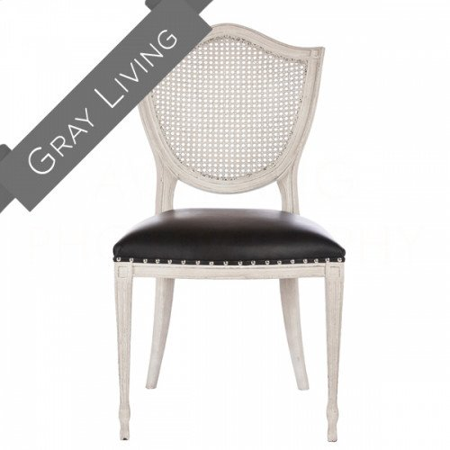Shield Back Dining Chair in Leather/Cane Back