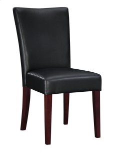 "Black Bonded Leather Parsons Chair, 20-1/2"" Seat Height Product Image"