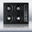 "24"" wide cooktop in black, with four burners and pilot light ignition Product Image"