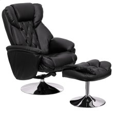 Transitional Multi-Position Recliner and Ottoman with Chrome Base in Black Leather