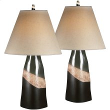 Exceptional Designs by Flash Elita Brown and Green Ceramic Table Lamp, Set of 2