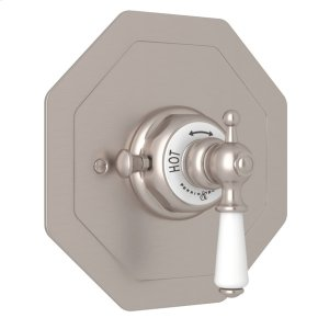 Satin Nickel Perrin & Rowe Edwardian Octagonal Concealed Thermostatic Trim Without Volume Control with Metal Lever