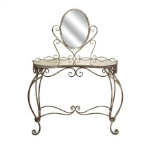 Leonora Glass Top Vanity Table with Mirror
