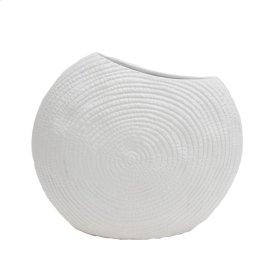 "Flat Round Matte White Vase 12.25"""