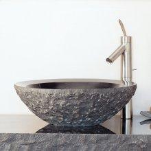 Chiseled Beveled Round Sink Blue Gray Granite