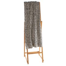 Dark Grey & White Marled Chunky Cable Knit Throw.