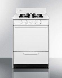 "White Gas Range In Slim 24"" Width With Electronic Ignition; Replaces Wtm6107"