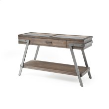 Sofa Table-wood W/tile Insert Top-metal Legs