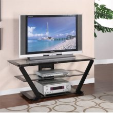 """Matte Black"" 48"" TV Stand with Clear Glass"