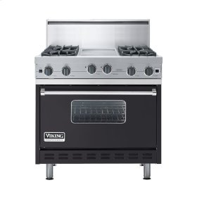 "Graphite Gray 36"" Open Burner Commercial Depth Range - VGRC (36"" wide, four burners 12"" wide griddle/simmer plate)"