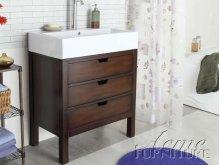 Cherry Finish Sink w/White Top Set