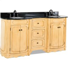 """74-1/4"""" elliptical vanity with antique crackled Buttercream finish, reed columns, and simple carvings all topped with preassembled top and bowl."""