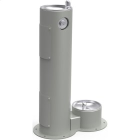 Elkay Outdoor Fountain Pedestal with Pet Station, Non-Filtered Non-Refrigerated, Freeze Resistant, Gray