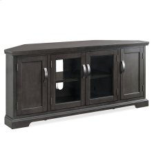 "Gray 57"" Corner TV Console with Pewter Door Hardware #84386"