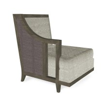 "29"" Grey & Dark Grey Rattan Right One-Seat Sofa Sectional, Upholstered in Standard Outdoor Fabric"