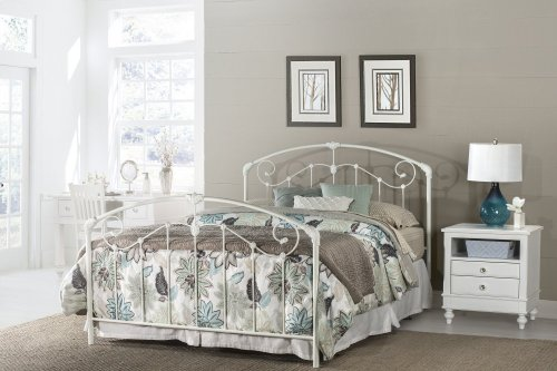 Maddie King Bed Set With Rails - Glossy White