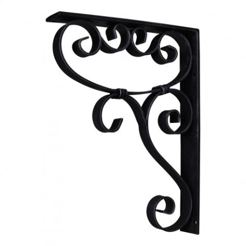 "1-7/8"" x 10"" x 13-1/2"" Metal (Iron) Scrolled Bar Bracket with Knot Detail. Finish: Black. Mounting Screws (#8x3/4"") Included. Not for outdoor use"
