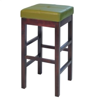 Valencia Backless Leather Bar Stool, Wasabi