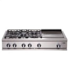 "Brushed Stainless Steel 48"" Prof. Cooktop"