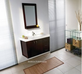 """Wall-mounted vanity with two doors on the left with pull-out bottom and 3 drawers on the right, 45 3/8""""W, 17""""D, 24""""H."""