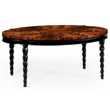 Oval Black Barleytwist Quatrefoil Coffee Table