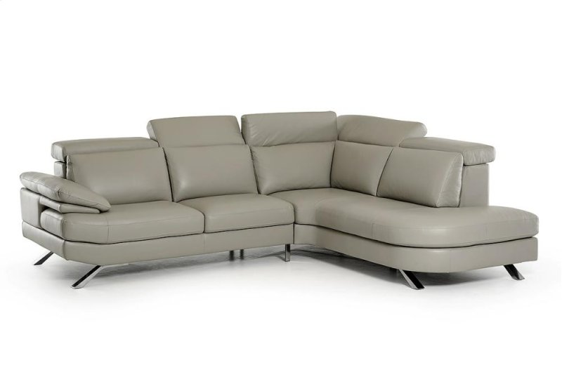 Estro Salotti Glenda Italian Modern Grey Leather Sectional Sofa