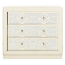 Catalina 3 Drawer Chest - Antique Beige / Nickel / Mirror