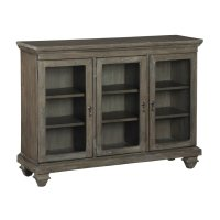 Short Beveled Glass Door Entertainment Center Product Image