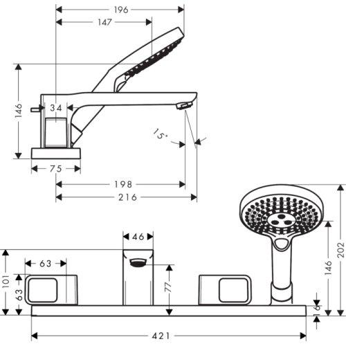 Chrome 4-hole tile mounted bath mixer