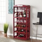 Phone Booth Bar Cabinet w/ Wine Storage - Rich Burgundy Red Product Image