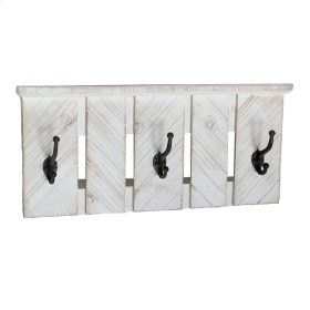 Iron & Wood 3 Hook Wall Hanger, Ivory