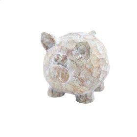 "Resin Pig Decor, 7"", Brown/ivory"