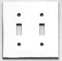 Double Modern Switchplate - Solid Brass in US15 (Satin Nickel Plated, Lacquered)