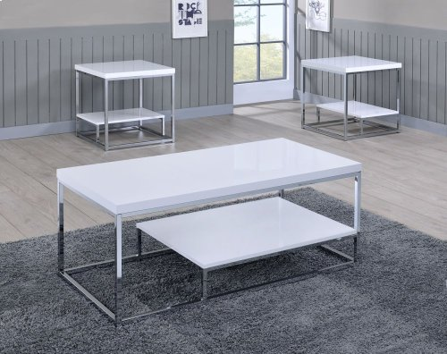 "Lucia Cocktail Table, White 47""x24""x20"""
