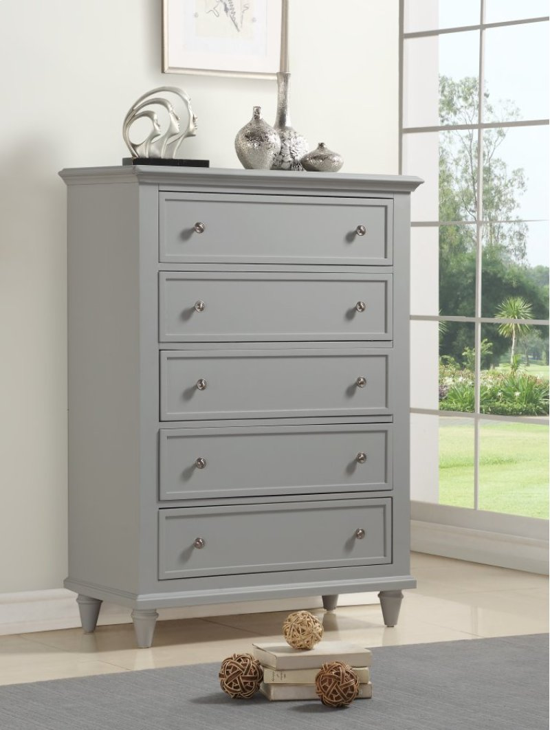 Emerald Home Decor 5 Drawer Chest Gray B381 05gry