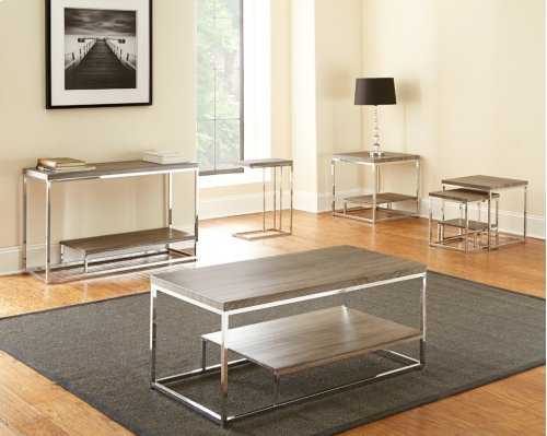 "Lucia 2 Pc Nesting Table, Gray/ BR, L:20""x20""x20"";S:16""x16""x17"""