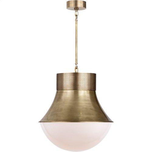 Visual Comfort KW5223AB-WG Kelly Wearstler Precision 1 Light 17 inch Antique Burnished Brass Pendant Ceiling Light, Kelly Wearstler, Large, White Glass