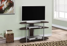 """TV STAND - 38""""L / CAPPUCCINO WITH SILVER ACCENT"""
