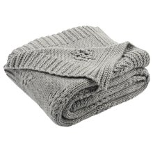 Cozy Knit Throw - Medium Grey/light Grey