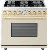 Range DECO 36'' Classic Cream matte, Gold 6 gas, electric oven, self-clean