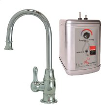 Francis Anthony Collection - Hot Water Faucet with Traditional Curved Body & Curved Handle & Little Gourmet® Premium Hot Water Tank - Polished Chrome
