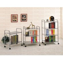 "BOOKCASE 3 TIER ON CASTE RS CHROME 30""H """