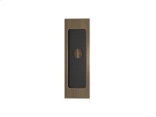 Rectangle Flush Pull - Release Recess Leather In Black Tea And Fine Antique Brass