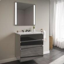 "Curated Cartesian 36"" X 7-1/2"" X 21"" and 36"" X 15"" X 21"" Three Drawer Vanity In Tinted Gray Mirror Glass With Tip Out Drawer, Slow-close Plumbing Drawer, Full Drawer and Engineered Stone 37"" Vanity Top In Silestone Lyra"