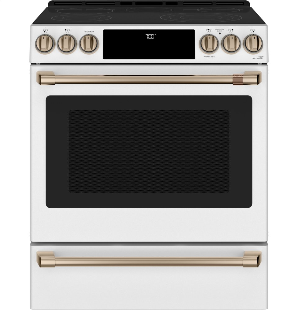 """Cafe Appliances30"""" Smart Slide-In, Front-Control, Radiant And Convection Range"""