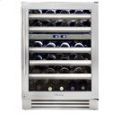 24 Inch Stainless Glass Door Dual Zone Wine Cabinet - Left Hinge Stainless Glass Product Image